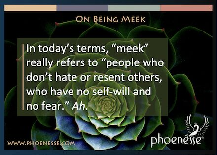 """On Being Meek in Living Light, a book about finding true faith: In today's terms, """"meek"""" really refers to """"people who don't hate or resent others, who have no self-will."""" Ah."""